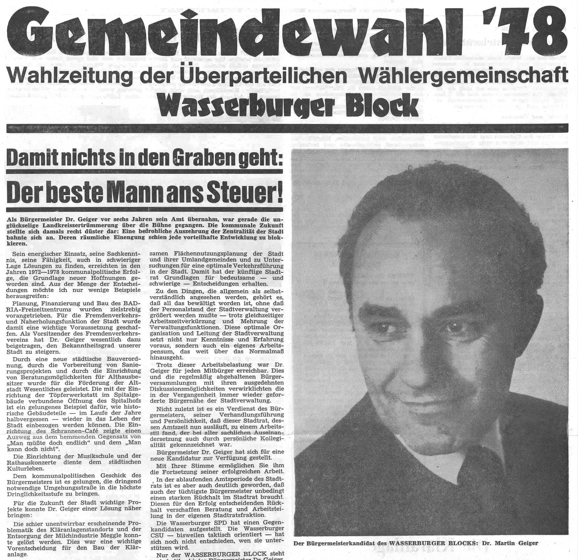 Gemeindewahl 78, Wahlzeitung