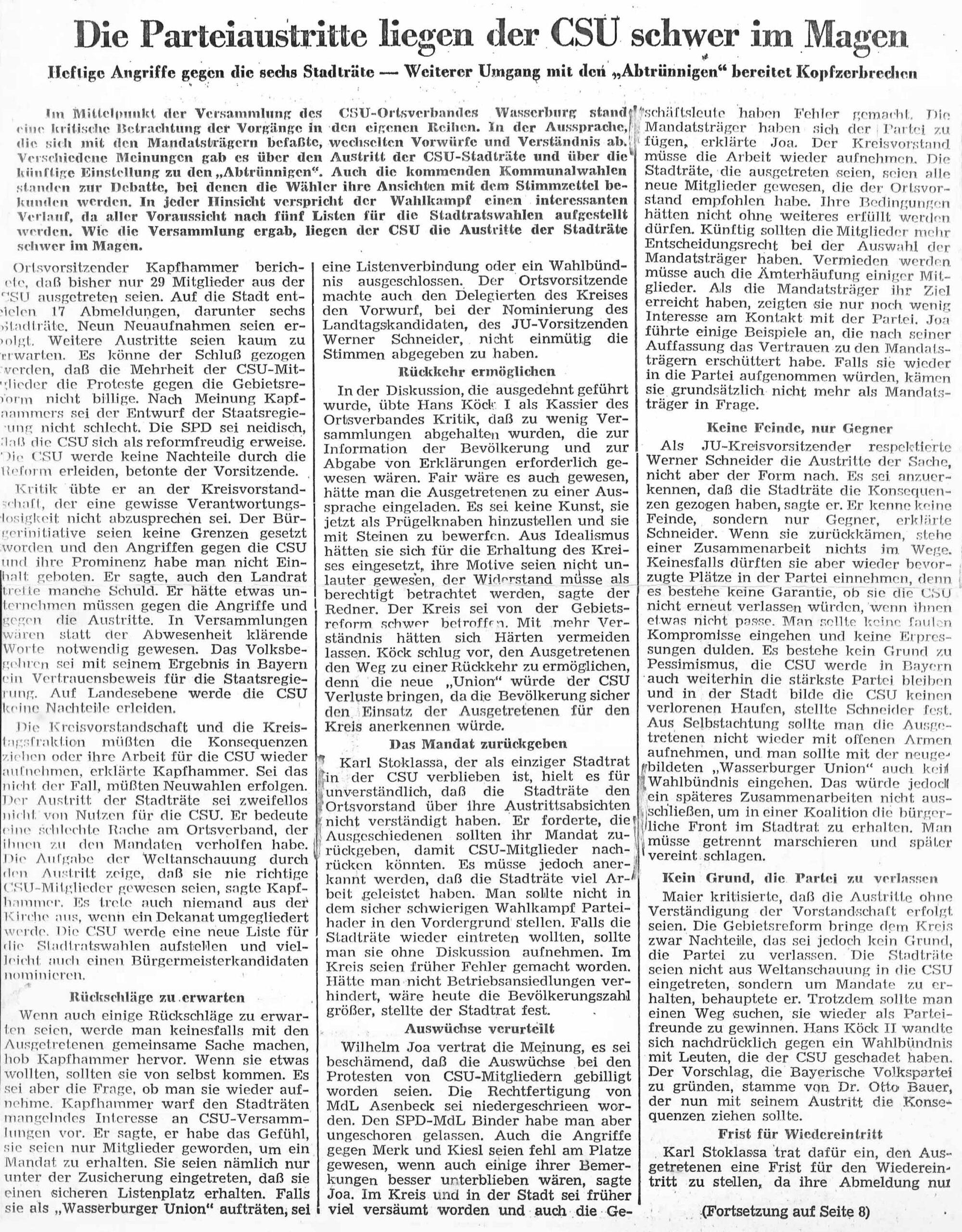 Parteiaustritte liegen der CSU schwer im Magen, Zeitungsartikel