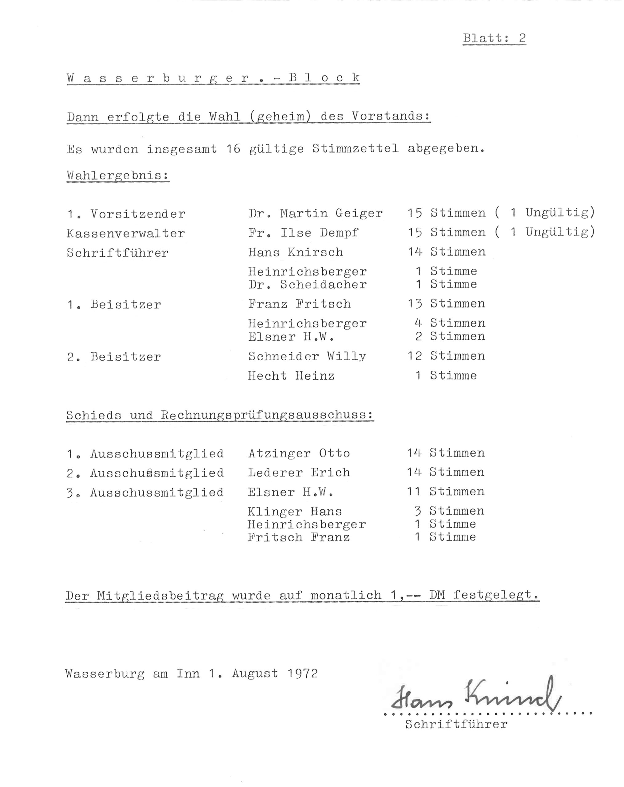 Wahlergebnis des Vorstands, 1972
