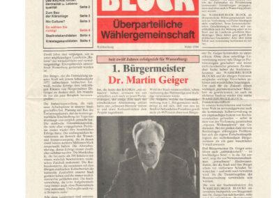 März 1984 Wählerzeitung, Wasserburger Block