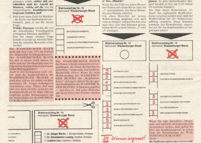 März 1984 Wählerzeitung, Wasserburger Block, Seite 3